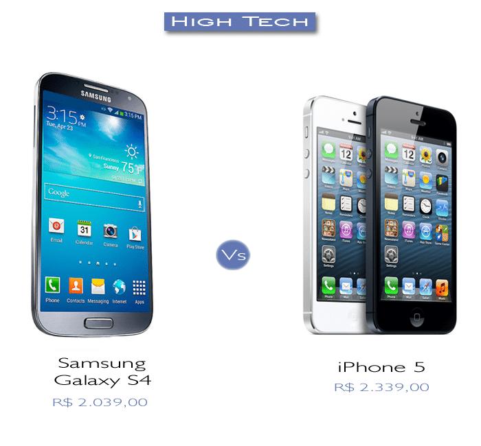 comparação entre iphone 5 e galaxy s4