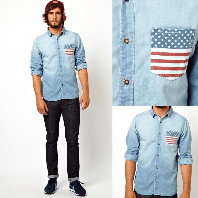 Camisa com bolso estampado