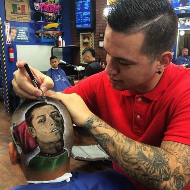 Barbeiro EUA desenha rostos dos jogadores da copa nas cabeças dos clientes HQSC 5