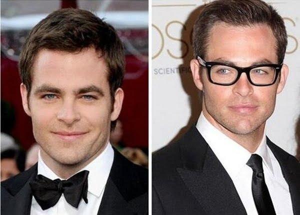 Chris Evans antes e depois óculos de grau HQSC