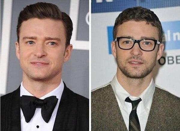 Justin Timberlake antes e depois óculos de grau HQSC