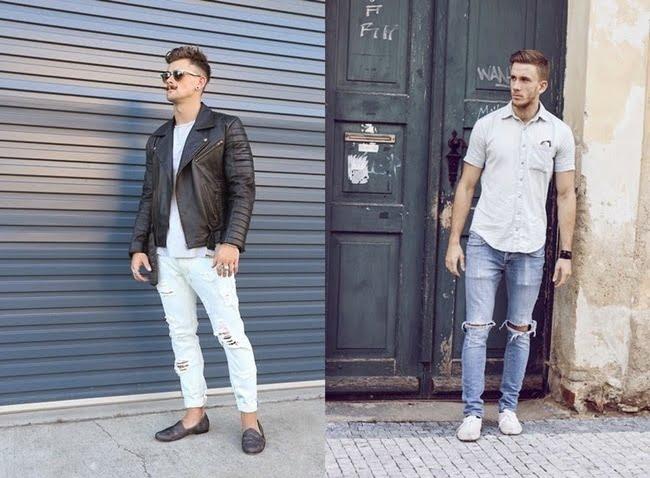 Calça Jeans rasgada masculina HQSC 12