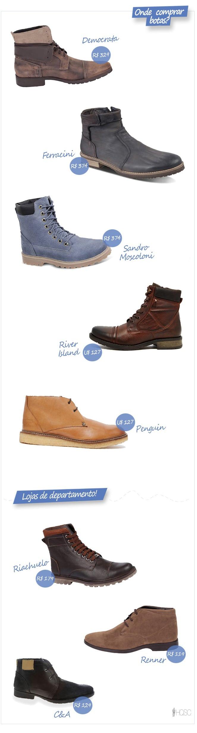 Onde comprar botas masculinas Homens que se cuidam