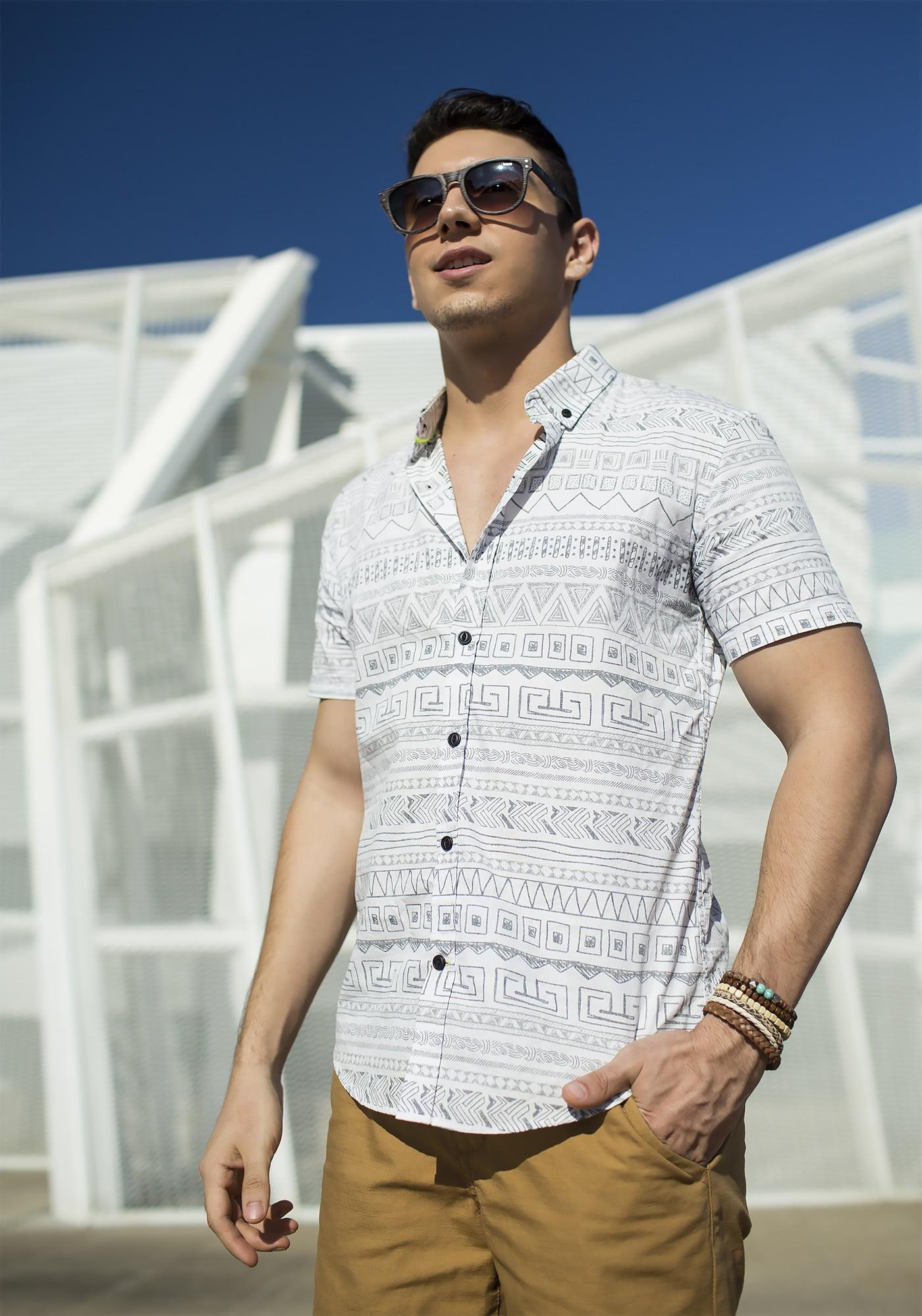 Estilo HQSC Juan Alves Camisa manga curta étnica 7