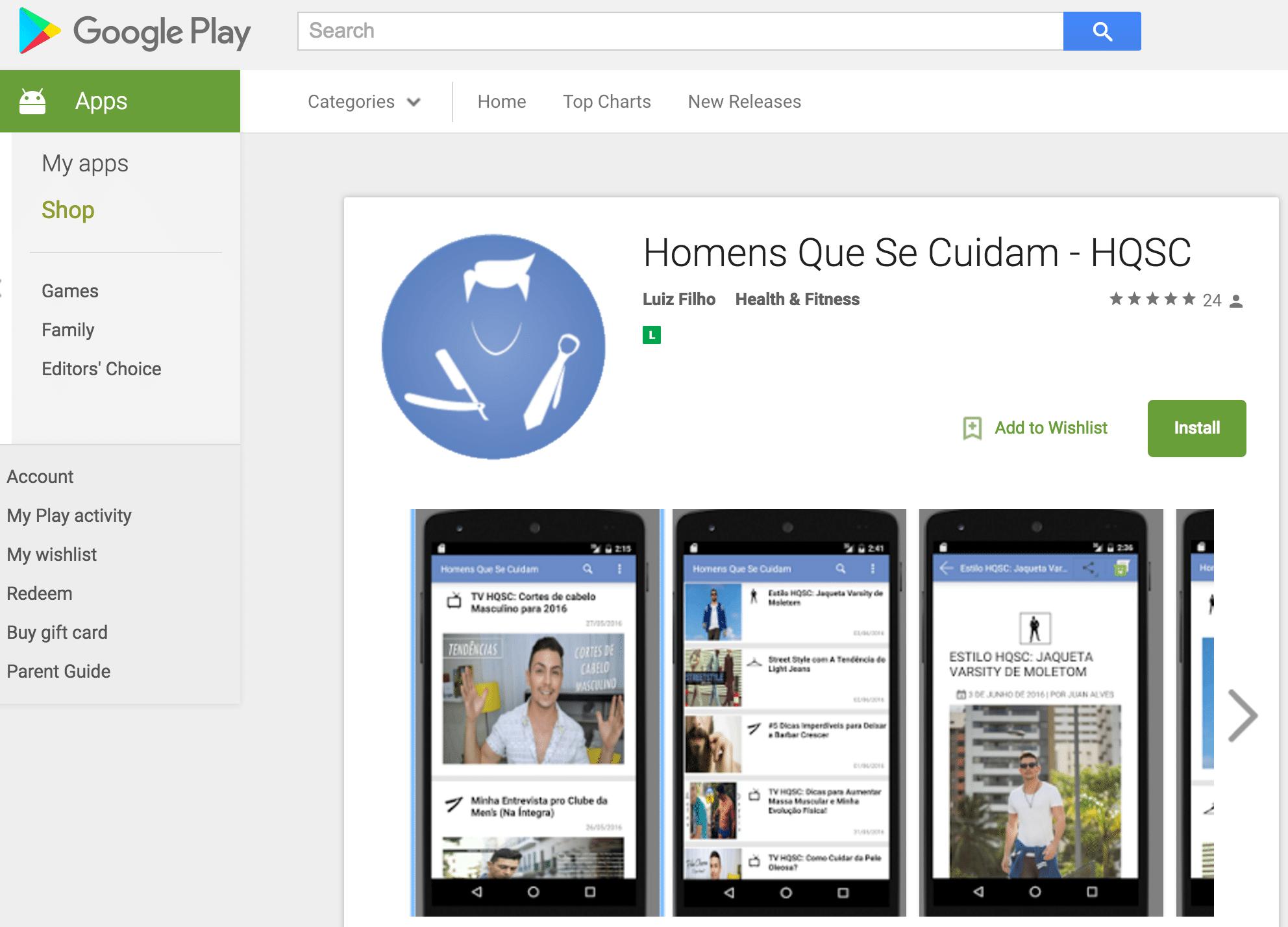 1 App Homens que se cuidam Play Store
