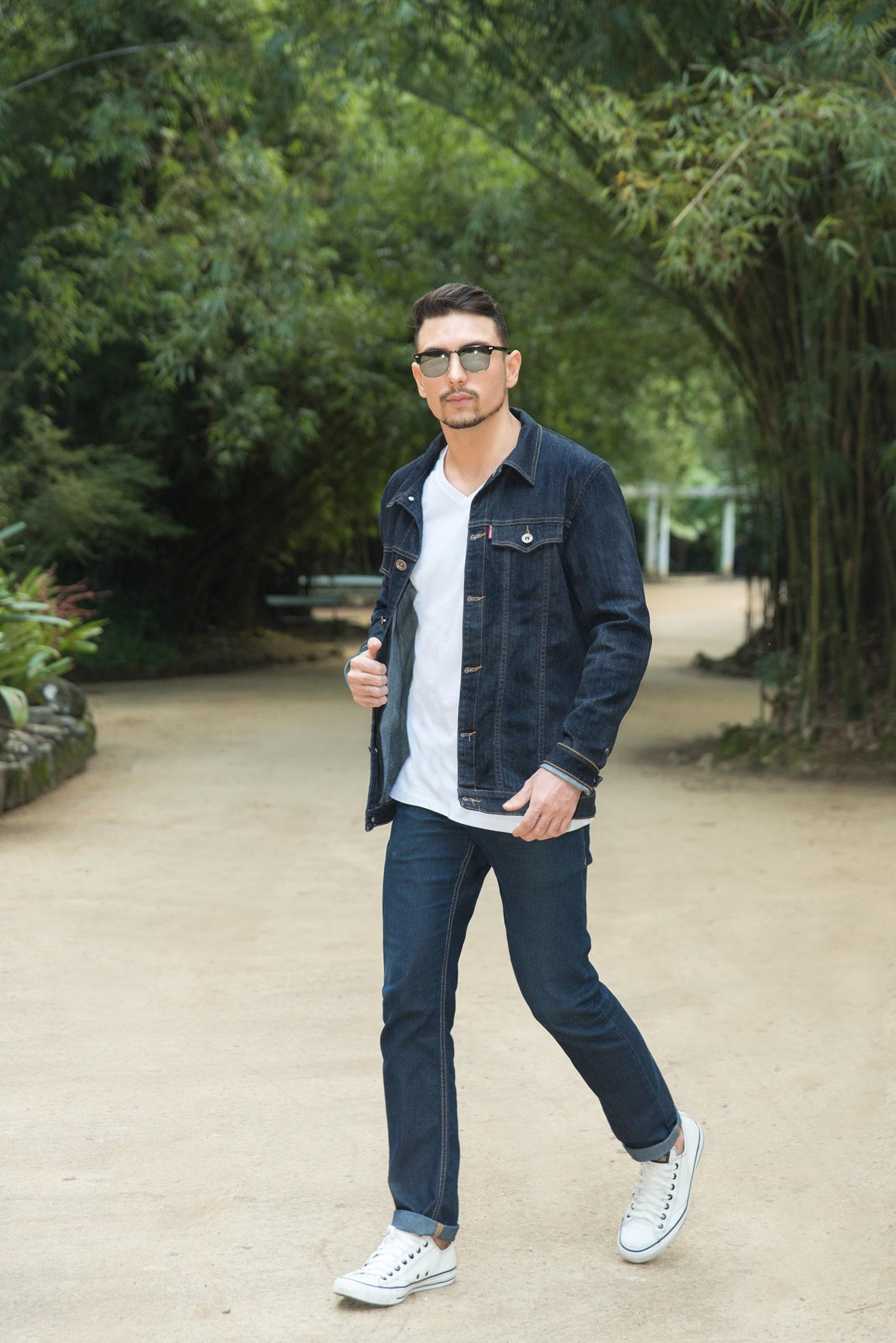 2 Juan alves Estilo HQSC jaqueta jeans e bolso estampado