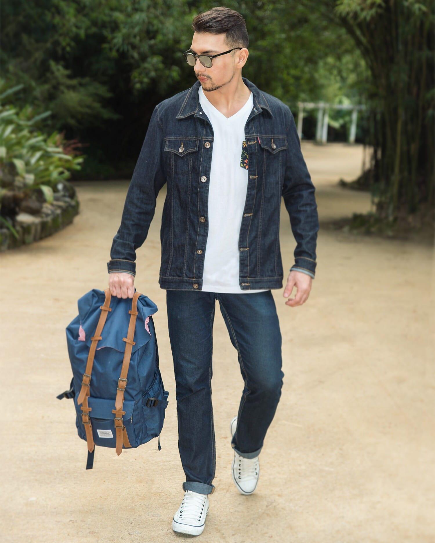 8 Juan alves Estilo HQSC jaqueta jeans e bolso estampado