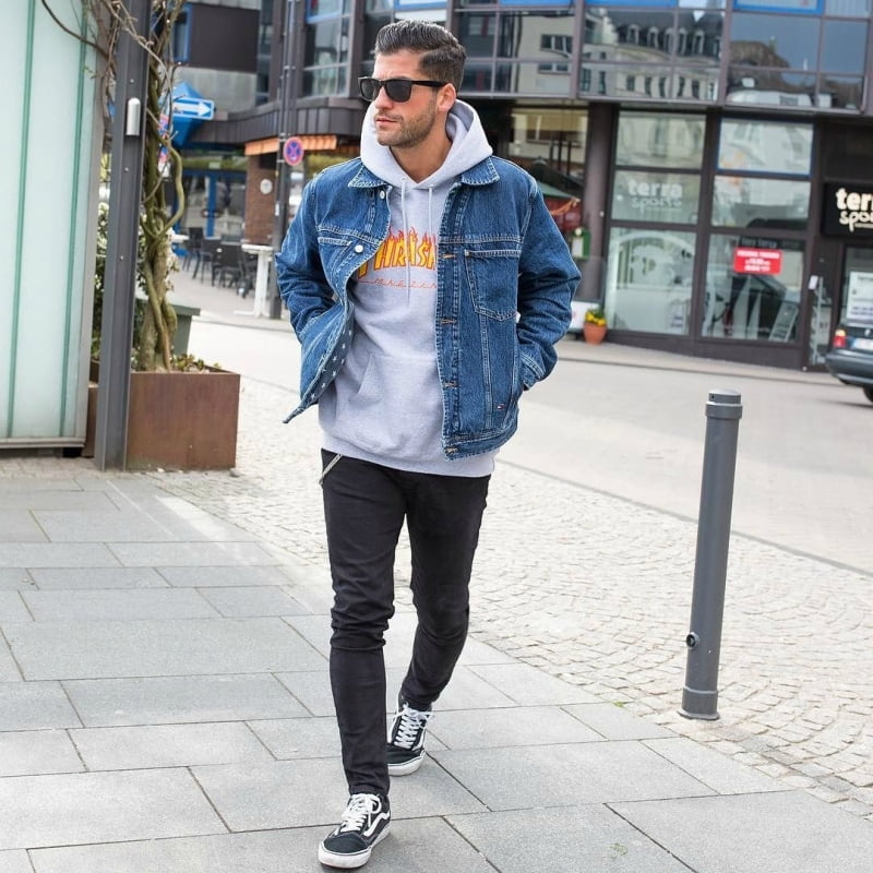 Skinny Cuffed Jeans Mens
