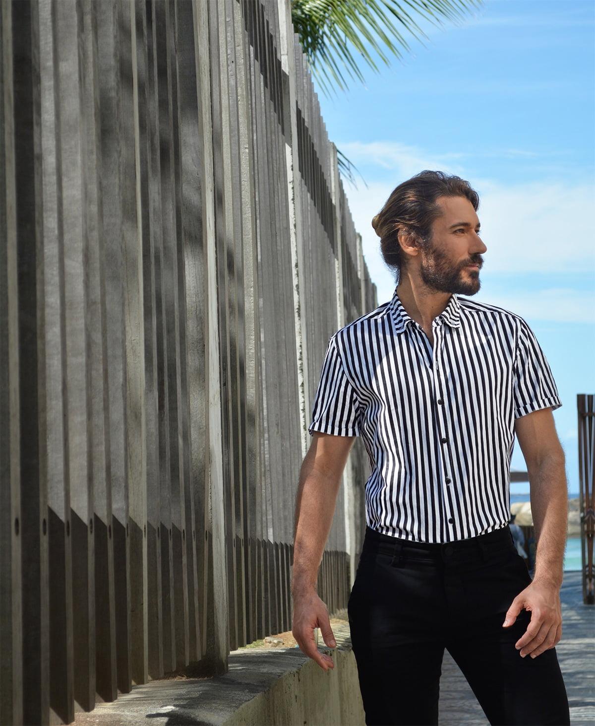 camisa com listras verticais masculina arpex