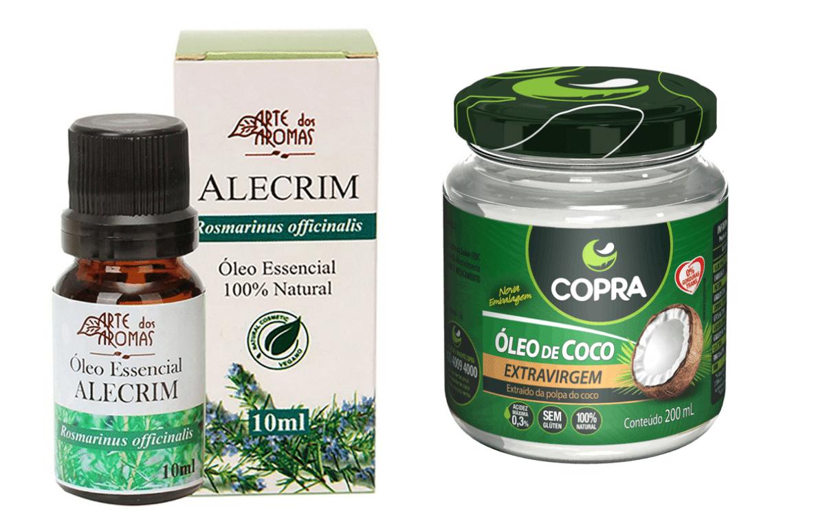 óleo de coco e óleo essencial de alecrim para crescer cabelo