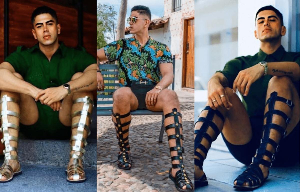 homem usando sandália gladiadora