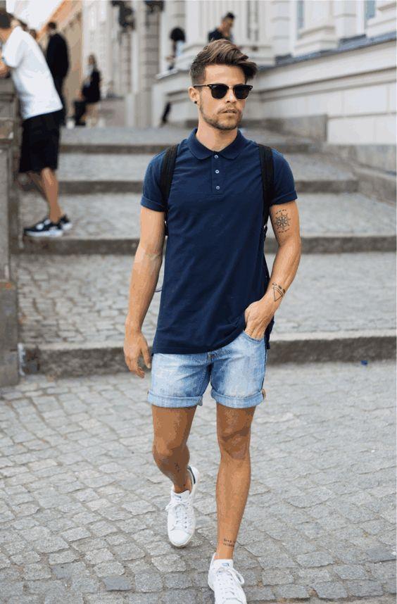 look-masculino-com-shorts-jeans